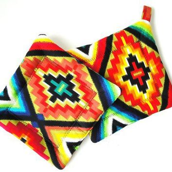 $14.00 Potholder Set Mexican Fiesta Fabric  Bright by rusticpatriotgirl