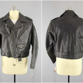 Original 1950s Vintage Horsehide Motorcycle Jacket / 50s Black Leather Moto Biker Jacket / Rockabilly Menswear / Wild Bunch / Steer Hide