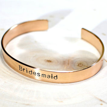 Bridesmaids gift bronze Cuff Bracelet - wedding jewelry