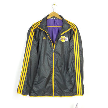 new ADIDAS LAKERS performance windbreaker jacket / NBA / los angeles / la / mens large