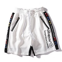 Off White Fashion New Letter Print Women Men Sports Leisure Shorts White