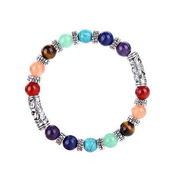 7 Chakras Gemstone Bracelets Natural Stones Reiki Healing Balancing Round Beads with Tree of LifeOMLeaf Symbol Charm