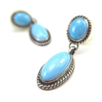 Oval Turquoise Earrings Sterling Silver Vintage 1990s Small Blue Stone Pendants Southwestern