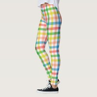Rainbow Plaid Pattern Leggings