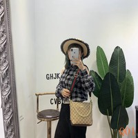 HCXX 19Aug 853 Gucci Printed Monogram Bag Canvas Knit Strap Hobe Crossbody Bag 19-8-22CM