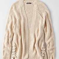 AEO Side-Lace Cardigan, Oatmeal