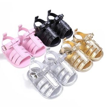 0-18 Months Plain PU Leather Baby Moccasins Child Summer Girl Boy Sandals Crib Shoes A