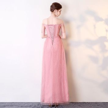Bow Pink Flower Floral Lace Up Elegant Evening Dresses Floor Length Party Gown Evening Gowns Formal Dresses