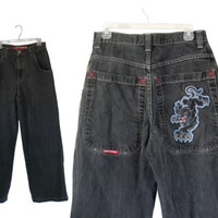 Vintage JNCO Jeans 90s Jeans Black Jeans Men Jeans 32 90s Clothing 90s Clothes Men Clothing Men Clothes Wide Leg Jeans Men Pants