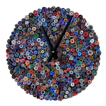 SALE Clock, Wall Clock, Decor and Housewares, Paper Beads, Anniversary Gift, Paper Gift, Living Room Clock, Decor, Home Decor, Home and Livi