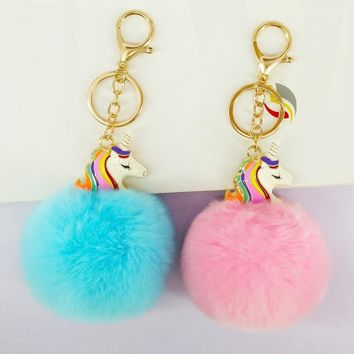 Cute Pokemon Unicorn Key Chains Handmade Pompon Balls Keyrings Bags Pendant Decoration Jewelry Ornament New Year Gift for Friend