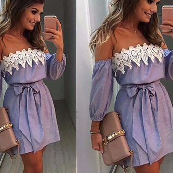Off The Shoulder Lace Trim Bow Tie Beach Dress
