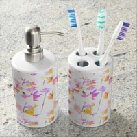 Flowering Toothbrush Holder & Soap Dispenser Set