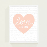 Peach Coral Heart Typography Poster Love Print - Minimalist Wall Art Print for the Modern Home