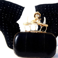 Skull Unicron Knuckle Ring Snakeskin Leather Box Clutch Black