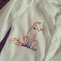White Embroidered Fox babies Onesuit / sleepsuits / playsuit / babygrow sizes newborn upto 18-24 months