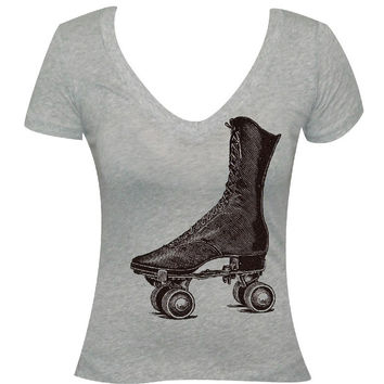 Retro Roller Skate Scoop Neck Tee
