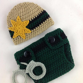 Baby Correctional Officer Outfit - Baby Police - Newborn Police Set - Baby Boy Police - Police Baby Boy - Crochet - Photography Prop