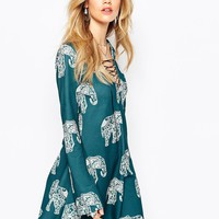 Missguided Elephant Print Swing Long Sleeve Dress