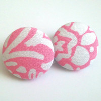 Barbie pink and white abstract floral button earrings
