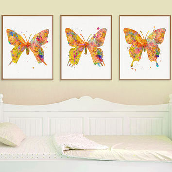 Butterfly Wall Art, Butterfly Wall Decor, Watercolor Butterfly, Butterfly Art Print, Butterfly Painting, Set Of 3 Prints, Nature Wall Decor