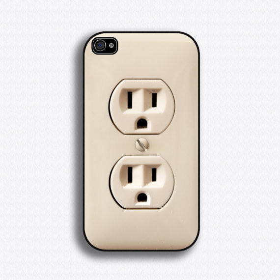 Plug iPhone case for iPhone 4 and 4S by iCaseSeraSera on Etsy