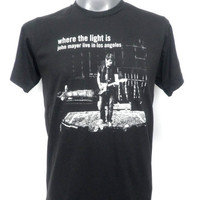 JOHN MAYER Live in Los Angeles  Unisex  T-Shirt  Rock  T-shirt  Black  size on Tag : M  ( For Men Size M , For Women Size L )