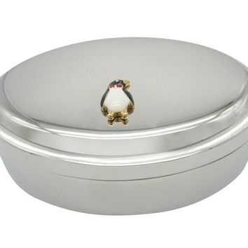 Colored Penguin Bird Pendant Oval Trinket Jewelry Box