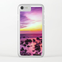 PURPLE SEASCAPE SUNSET Clear iPhone Case by Digital Effects