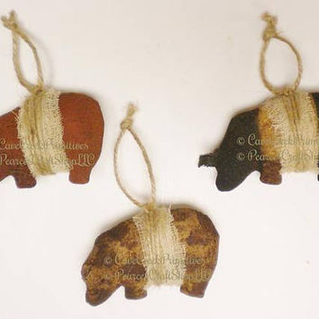 Primitive Pot Belly Pig Ornament - Made To Order, Primitive Animals, Pig Ornaments