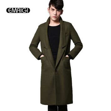 New 2017 winter new men's fashion woolen coat casual slim fit long jacket men wool overcoat autumn new men clothing N19