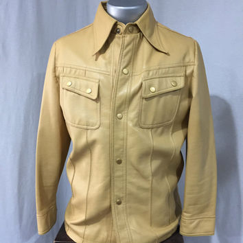 Vintage 1970s Tan International Collection Richman Brothers Faux Leather Snap Front Vegan Vintage Vinyl Size M Buttery Soft