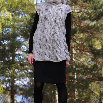 PDF pattern. Cable knit sleeveless vest. Digital pattern from Ilze Of Norway.