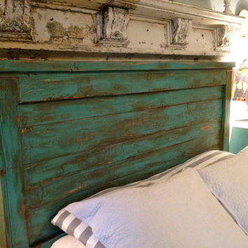 King Size Headboard Distressed - Turquoise - Handmade King Size headboard, painted headboard, Custom Paint colors,