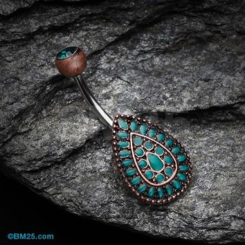 Vintage Chakra Teardrop Belly Button Ring