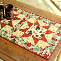Fall Table Runner, Quilted Table Runner, Autumn Leaves, Bears Table Runner, Autumn Table Topper, Country Cabin Decor, Thanksgiving