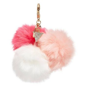 Triple Pom Keychain at Guess