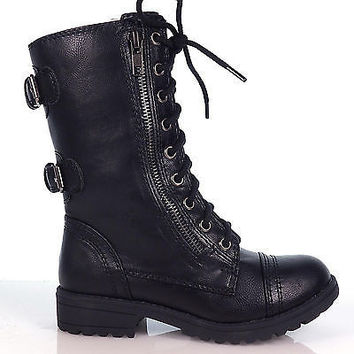 Dome2 Brown By Soda, Children Girls Lace Up Military Combat Boots YOUNG GIRL KIDS soda shoes