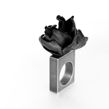 Titanium Square Ring Band with Leather Flower