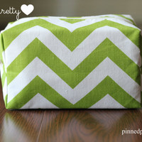 Large Makeup and Cosmetic Bag in Chartreuse  Chevron