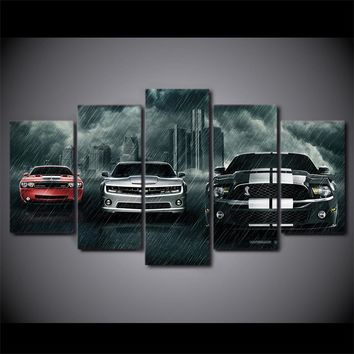 Fast US Ship - 5 Piece Canvas Art Muscle Cars - Mustang, Challenger, Camaro Picture Print