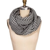 Black/White Asymmetrical Stripe infinity Scarf