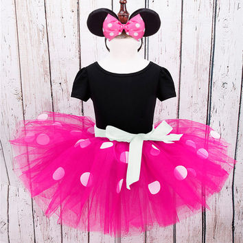 New kids dress minnie mouse princess party costume infant clothing Polka dot baby clothes birthday girls tutu dresses Headband