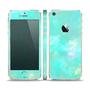 The Bright Teal WaterColor Panel Skin Set for the Apple iPhone 5s