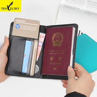 Travelsky PU Leather Men Wallet Travel Passport Cover RFID Blocking Passport Holder Credit Card Ticket Holder Free Shipping