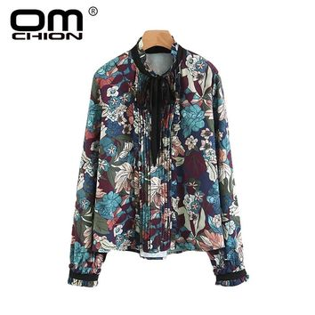 Vintage Women Blouse Floral Printed Spliced Spring Autumn Shirts Bow Stand Collar Lantern Sleeve Tops