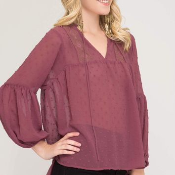 Women's Swiss Dot Woven Blouse with 3/4 Balloon Sleeves