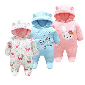 New Winter Baby Clothes Cotton Cute Thickened Romper Cartoon Outdoor Baby Girl Clothes Newborn Winter Clothes Baby Boys Romper
