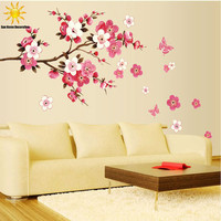 Free Shipping Removable PVC Modern  Peach blossom  Butterfly Home Decor Art  Wedding Room Girls Room Wall Stickers  Decal Poster