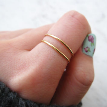 Gold Ring Set of 2//gold filled ring, thin gold ring, gold fill ring, stacking rings, gold midi ring,dainty, adjustable,minimalist,chic,gift